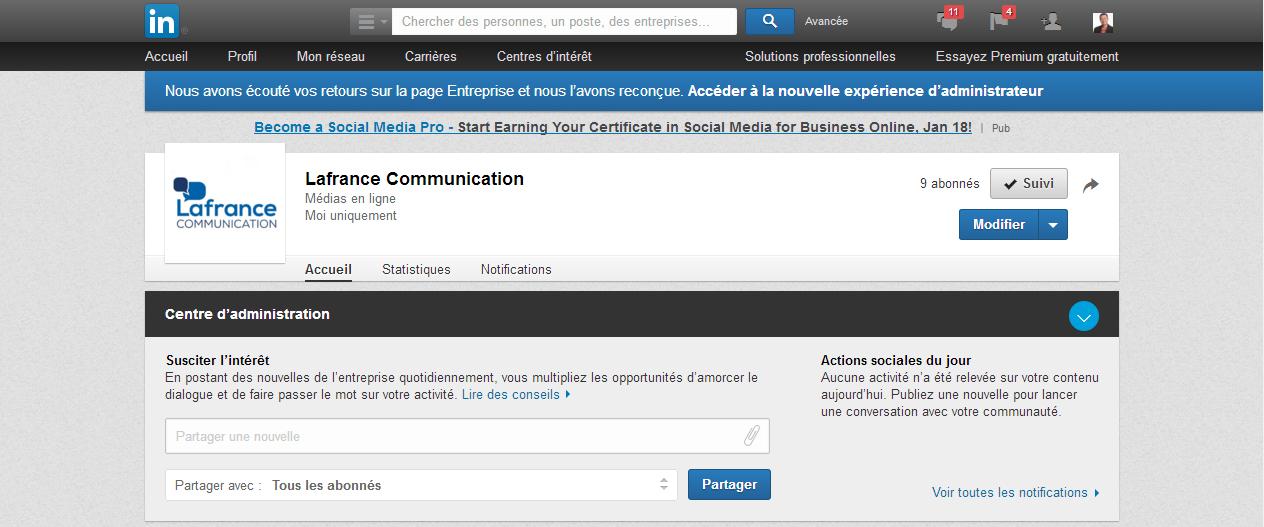 Cr er une page d entreprise sur linkedin lafrance for Creer une entreprise qui rapporte