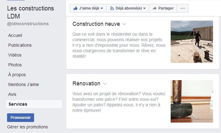 Onglets de la page Facebook - Services