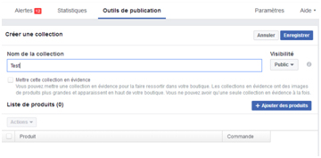Boutique sur Facebook