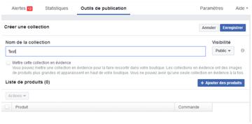 Boutique sur Facebook