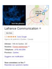 Google Mon Entreprise - Lafrance Communication