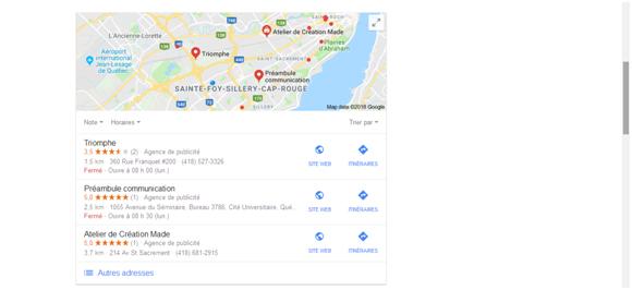 Google Mon Entreprise carte
