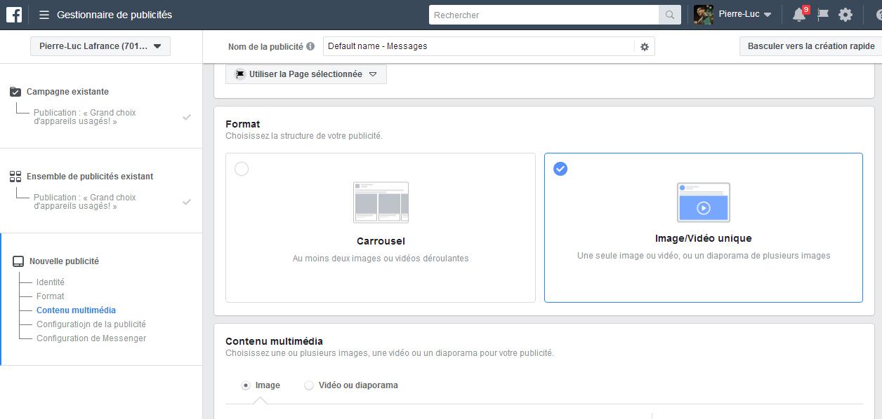 Créer plusieurs versions d'une publicité Facebook.