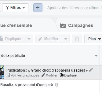 Dupliquer une publicité Facebook.